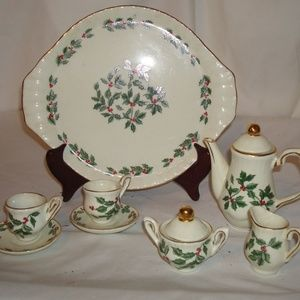Vintage Christmas Holiday Holly Miniature Tea Set